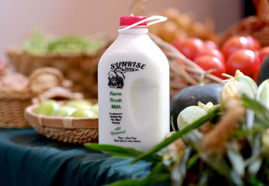 milk and vegetables, locally grown